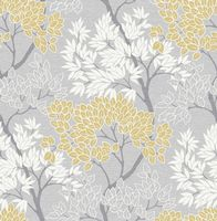Graham and Brown Lykke Tree Grey Ochre 107746 Wallpaper